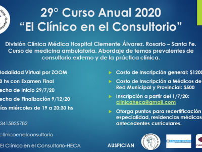 """29° Curso Anual """"El clínico en el consultorio"""""""