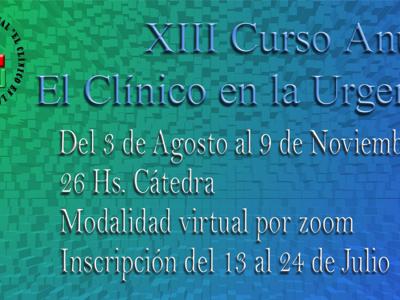 """XIII° Curso Anual """"El clínico en la urgencia"""" Modalidad Virtual"""